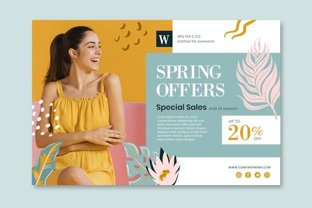 Plantilla de banner de ofertas de primavera plana