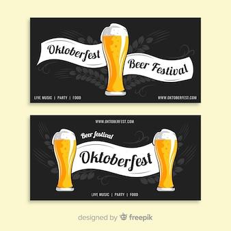 Plantilla de banner del oktoberfest en diseño plano