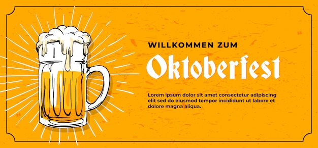 Plantilla de banner de oktoberfest de willkommen zum