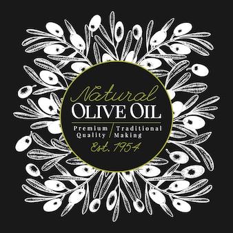 Plantilla de banner de olivo. ilustración retra del vector en tarjeta de tiza.