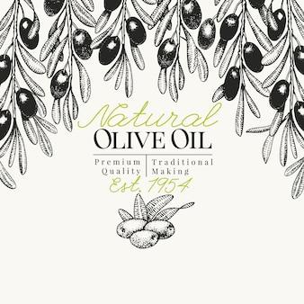 Plantilla de banner de olivo. vector ilustración retro. dibujado a mano de fondo grabado estilo