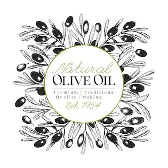 Plantilla de banner de olivo. vector ilustración retro.