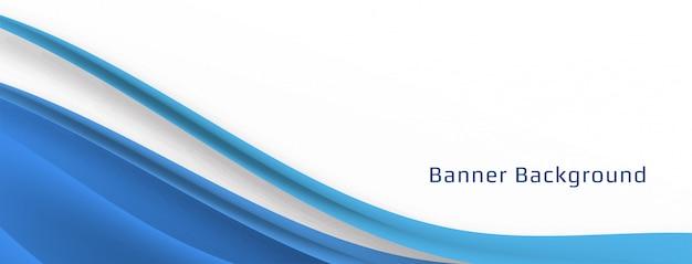 Plantilla de banner de onda azul con estilo moderno