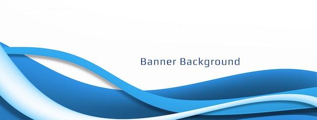 Plantilla de banner ondulado azul con estilo moderno