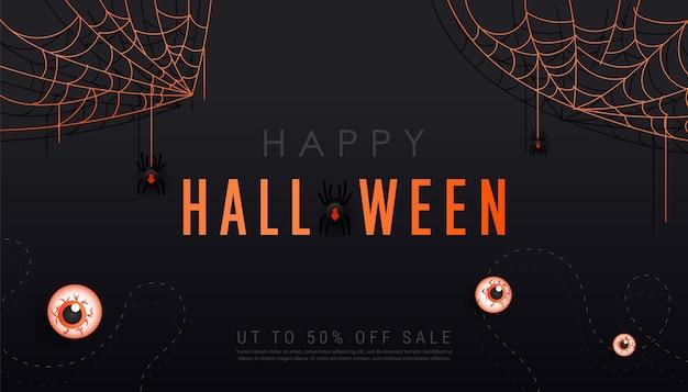 Plantilla de banner oscuro de feliz halloween con arañas aterradoras en telarañas, murciélagos y globos oculares