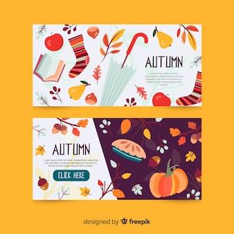 Plantilla de banner otoño dibujado a mano