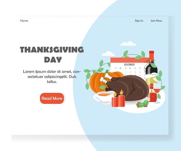 Plantilla de banner de página de aterrizaje del sitio web de vector del día de acción de gracias