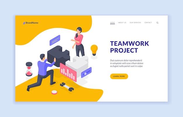 Plantilla de banner de página de destino de proyecto de trabajo en equipo