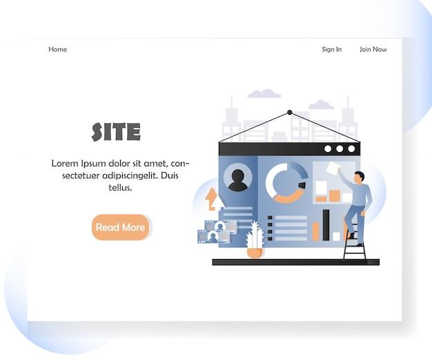 Plantilla de banner de página de inicio de sitio web de desarrollador web