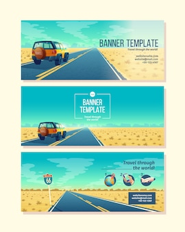 Plantilla de banner con paisaje desértico. concepto de viaje con suv en camino de asfalto al cañón