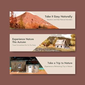 Plantilla de banner con paisaje en diseño de otoño