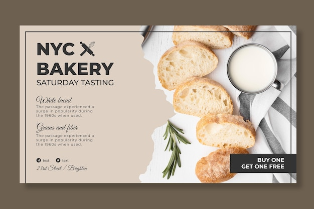 Plantilla de banner de pan con foto
