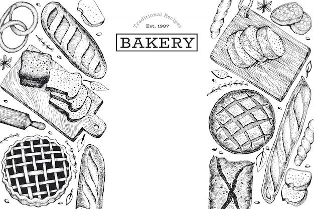 Plantilla de banner de pan y pasteles dibujados a mano.