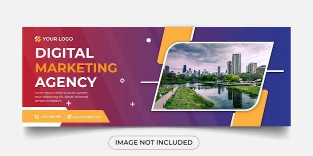 Plantilla de banner panorámico de agencia de marketing digital