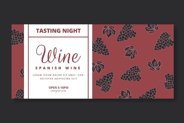 Plantilla de banner con patrón de vino