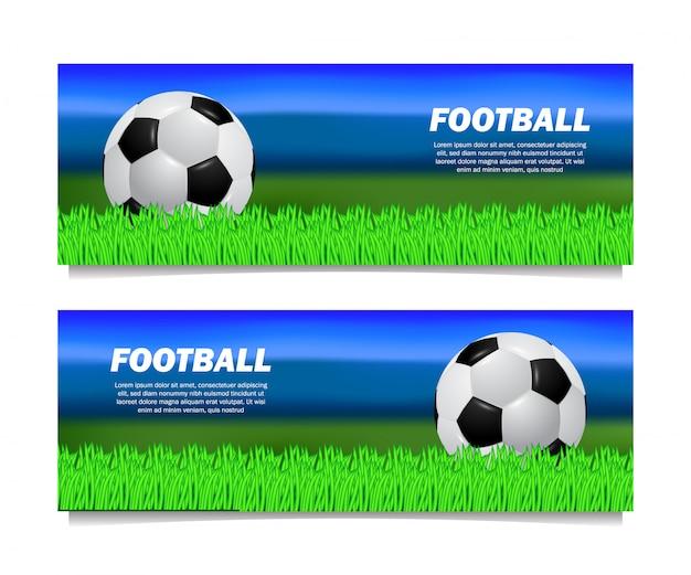 Plantilla de banner de pelota realista de fútbol soccer 3d con campo de hierba verde