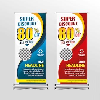 Plantilla de banner permanente oferta de oferta super especial descuento, promoción de banners de venta de geometría