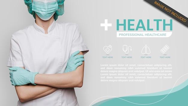 Plantilla de banner de personal médico de coronavirus