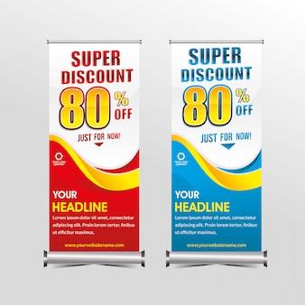 Plantilla de banner de pie oferta súper especial venta descuento, promoción venta de banners de geometría