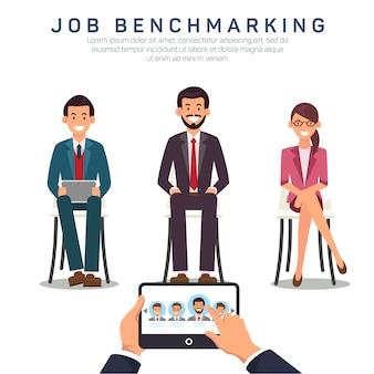 Plantilla de banner plano de aplicación de benchmarking de trabajo