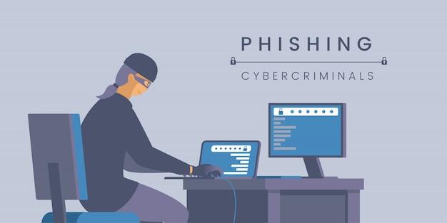 Plantilla de banner plano de ciberdelincuentes de phishing.