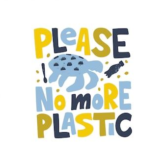 Plantilla de banner plano contra la contaminación del océano. no más inscripción plástica dibujada a mano con tortuga, siluetas de botellas.