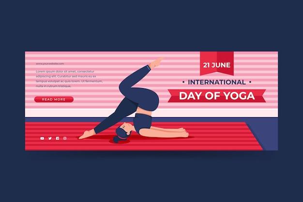 Plantilla de banner plano del día internacional del yoga