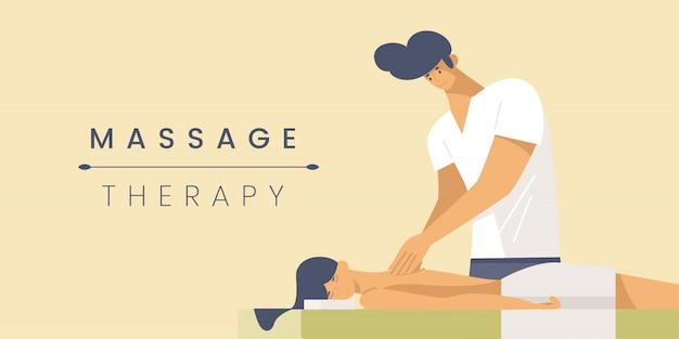 Plantilla de banner plano de terapia de masaje.