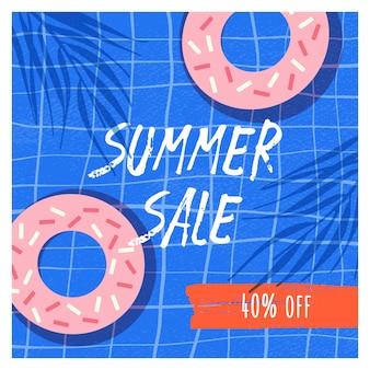 Plantilla de banner plano de venta de verano. donuts con glaseado 40 por ciento de descuento promocional en azul marcado