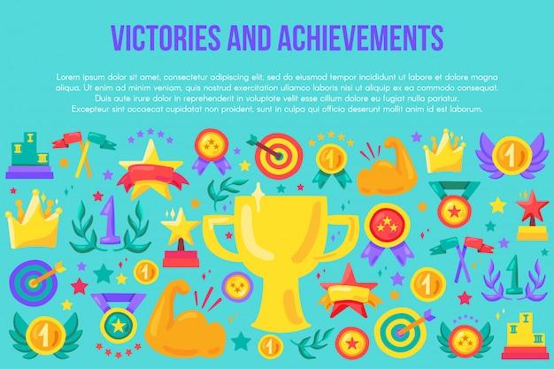 Plantilla de banner plano victorias y logros