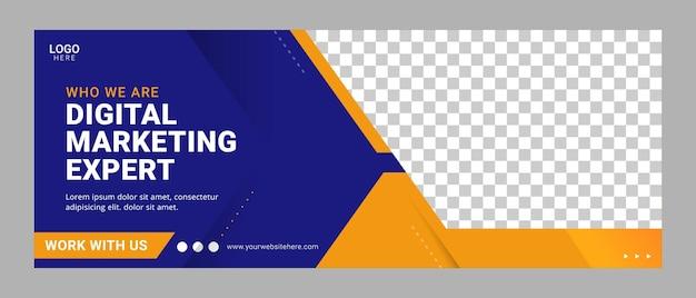 Plantilla de banner de portada de facebook de agencia digital de negocios corporativos