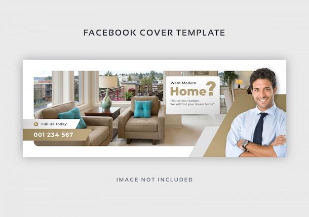 Plantilla de banner de portada de facebook de bienes raíces