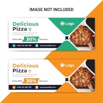 Plantilla de banner de portada de facebook de comida deliciosa para restaurante