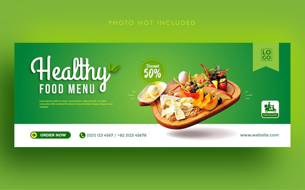 Plantilla de banner de portada de facebook de redes sociales de promoción de menú de comida saludable
