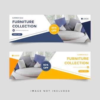 Plantilla de banner de portada de facebook de venta de muebles