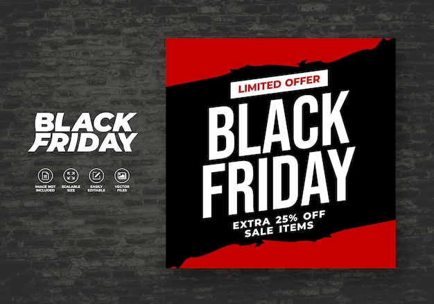 Plantilla de banner post feed para redes sociales de black friday promo