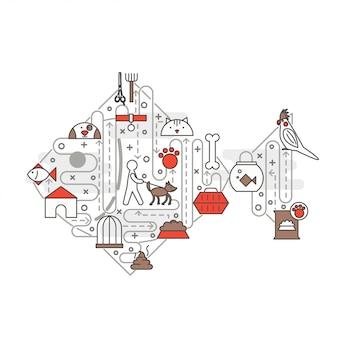 Plantilla de banner de póster de mascotas de línea delgada