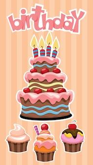 Plantilla de banner de postres de cumpleaños colorido con pegatinas festivas de pastel y cupcakes en rayas