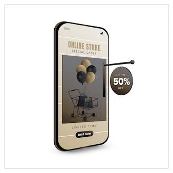 Plantilla de banner de promoción de compras en línea en concepto de aplicación móvil