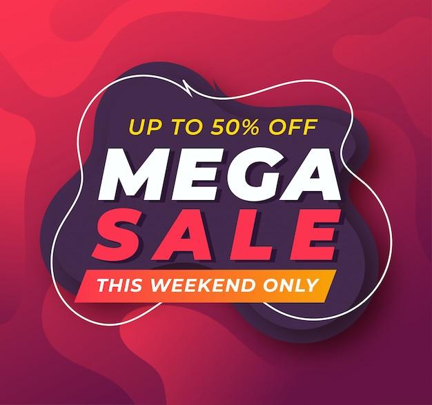 Plantilla de banner de promoción de mega venta