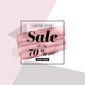 Plantilla de banner de promoción con pincel dibujado mano oro rosa