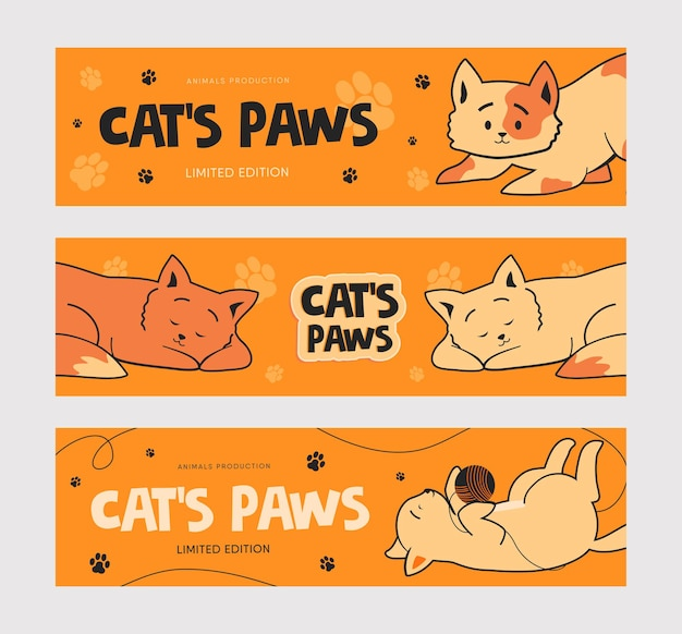 Plantilla de banner promocional con gatos graciosos.