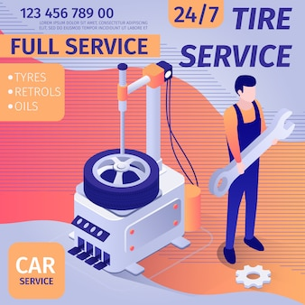 Plantilla de banner promocional para servicio de montaje de neumáticos