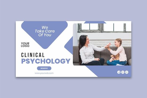 Plantilla de banner de psicología clínica