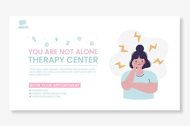Plantilla de banner de psicología ilustrada