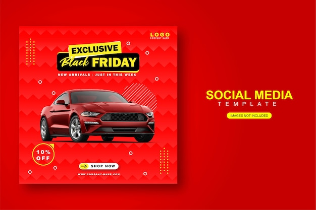 Plantilla de banner de publicación de instagram de alquiler de coche para redes sociales