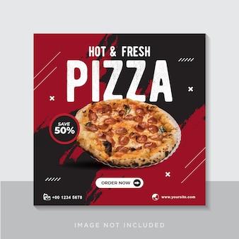 Plantilla de banner de publicación de instagram de promoción de menú de comida de pizza