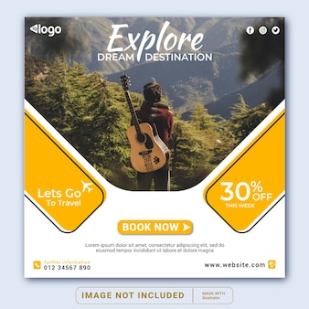 Plantilla de banner de publicación de instagram de promoción de publicación de redes sociales de viajes o folleto cuadrado