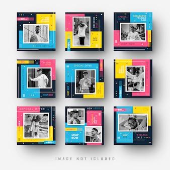 Plantilla de banner de publicación de instagram para redes sociales con estilo pop a todo color