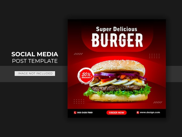 Plantilla de banner de publicación de instagram de redes sociales de hamburguesa de comida